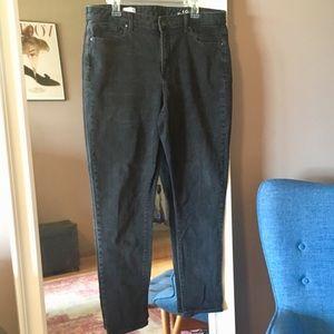 Gap 1969 high rise skinny black denim jeans 16L 34